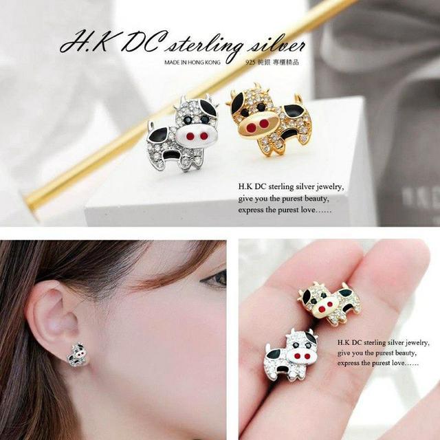 H.K DC 925純銀-<萌可愛>乳牛鋯石鑲鑽耳環設計款耳環(金/銀)