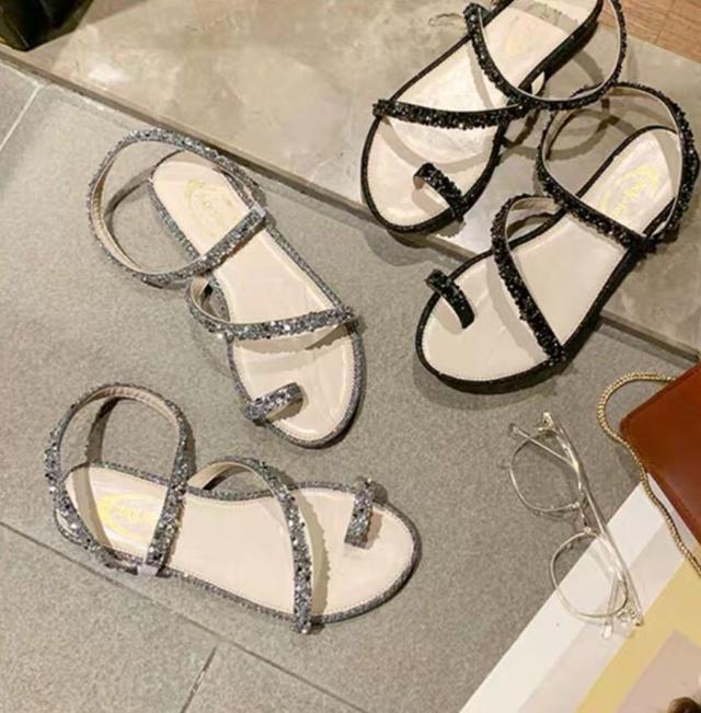新款百搭水鑽仙女羅馬鞋 涼鞋