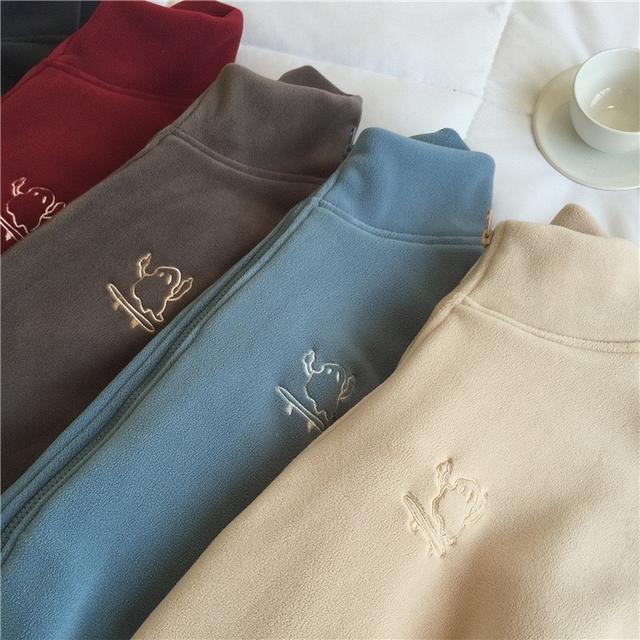高領拉鍊絨外套/開衫/女裝
