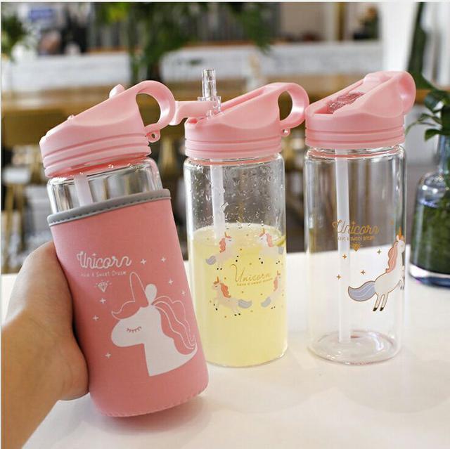 500ML吸管玻璃水杯+杯套