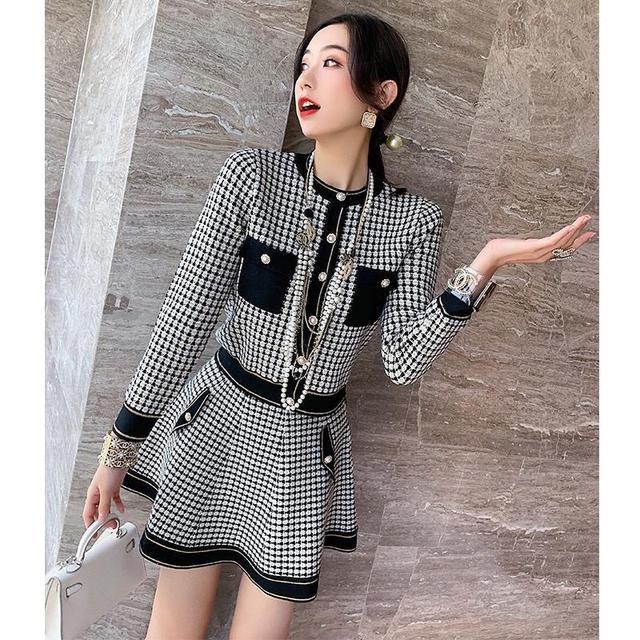 秋季名媛新款小香風兩件套裝裙氣質格子針織開衫高腰A字半身裙女