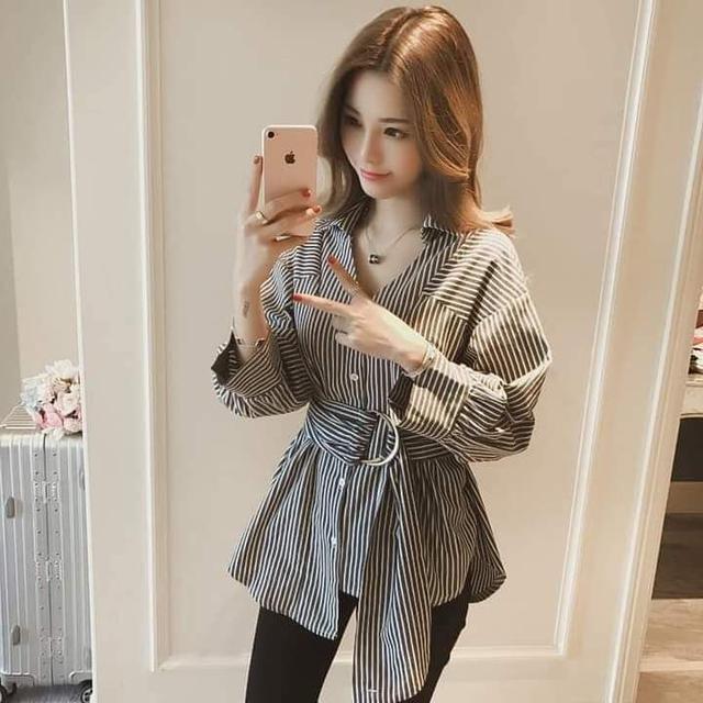 韓版百搭不規則條紋襯衫