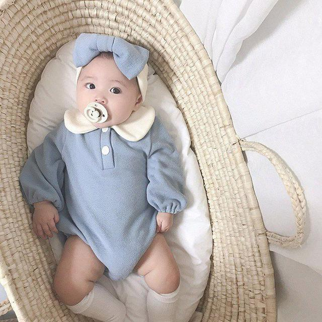 【預購】娃娃領純色包屁衣(附髮帶)
