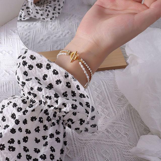 歐美小眾冷淡風雙層鈦鋼鏈條淡水珍珠鋯石設計飾品手鏈手飾