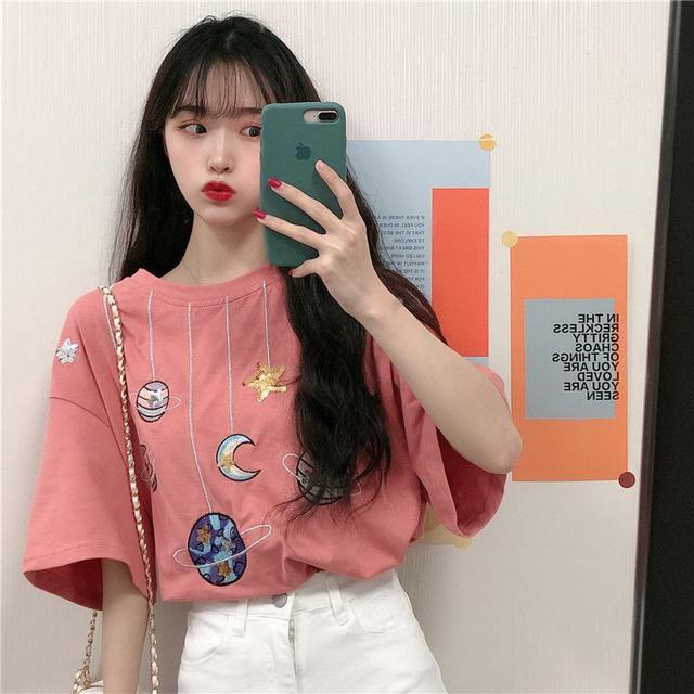 B網紅寬鬆星球純棉T恤(2色)