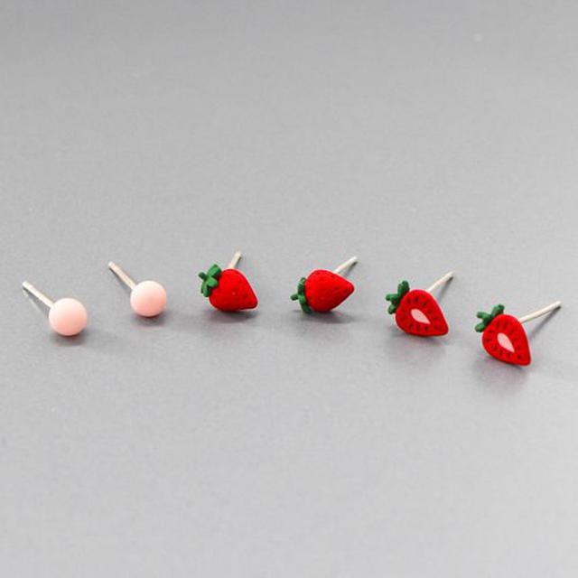 韓系甜甜草莓耳環