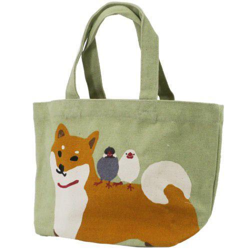 柴犬與鳥 帆布 手提袋 便當袋