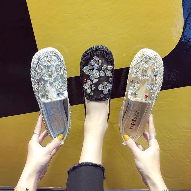 韩版夏季新款方头网面彩色水钻低帮鞋平底鞋渔夫鞋豆豆鞋平底女鞋