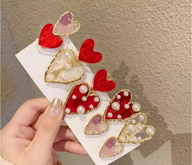 日系甜美愛心珍珠髮夾