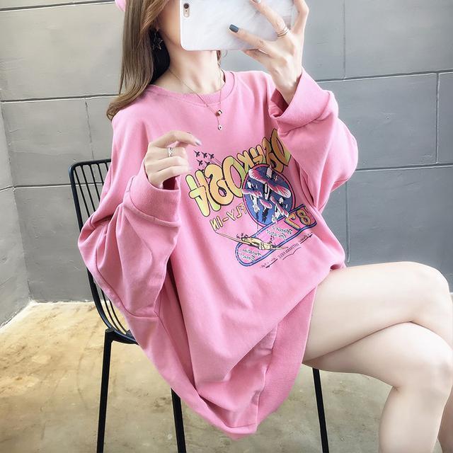10 M-XL 棉質寬鬆大碼長袖衛衣女 兩色