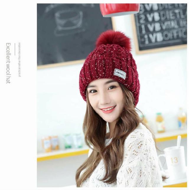 (預購s+) G001-秋冬毛線雙層加厚可愛毛球帽