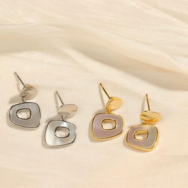 S925純銀輕奢感幾何耳墜貝殼耳環法式復古氣質高級感耳飾新款