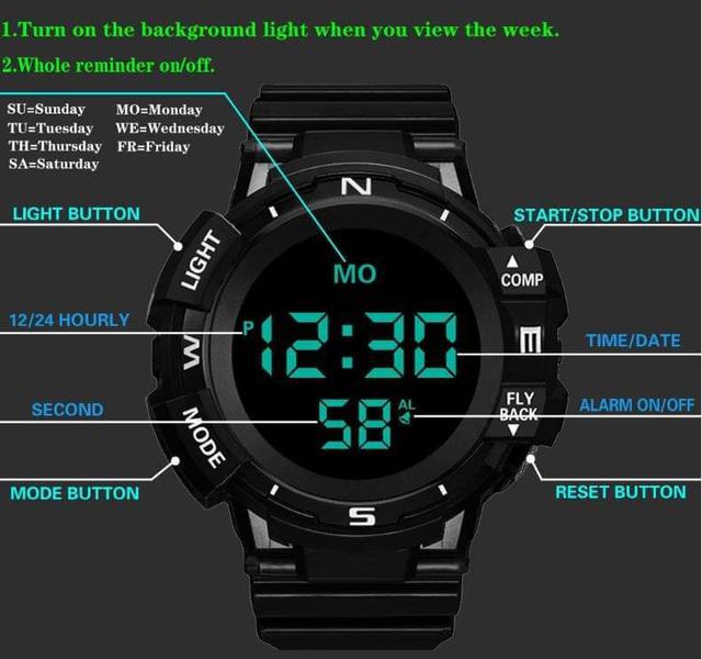 (預購S) 出口美國多功能夜光防水運動電子手錶