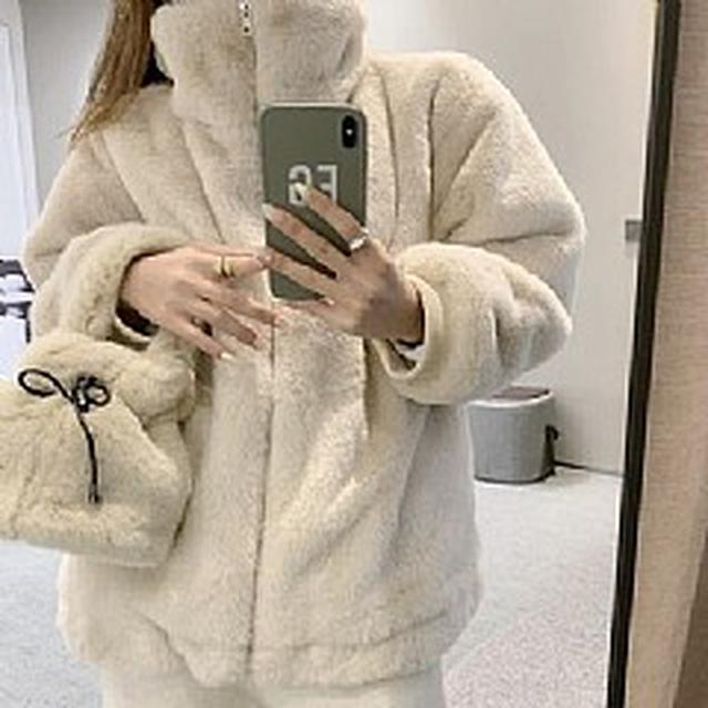 SE5970專櫃優質 立領羊羔絨寬鬆加絨加厚外套(2色)