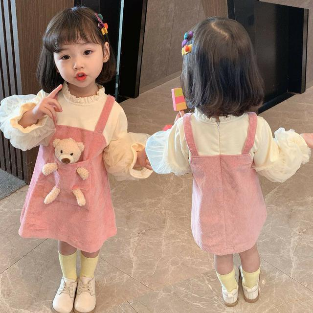 女童2021春季新款韓版小熊背帶裙洋氣裙子
