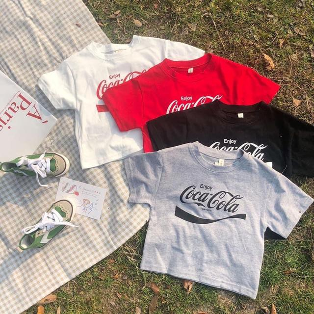 coca cola印花短袖上衣