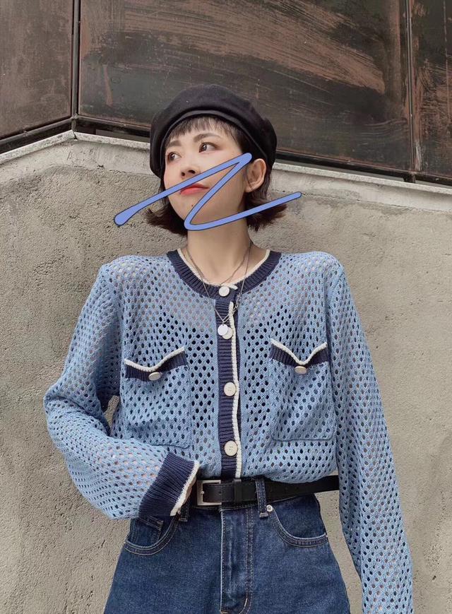 1236#欧货新品时尚镂空撞色针织衫 均码