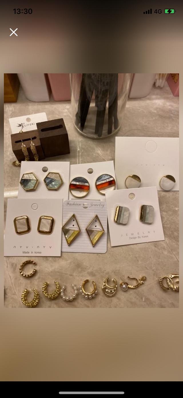 韓國鍍925銀/鍍金大理石拼接系列耳針