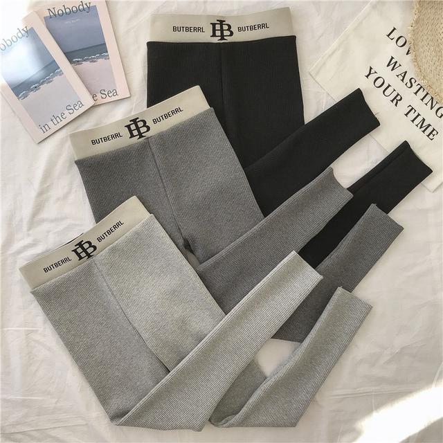 10 打底褲女外穿灰色螺紋棉秋褲 三色
