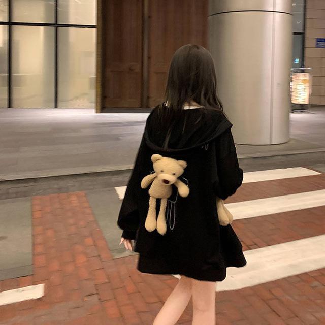 秋季2020新款可愛減齡小熊寬松連帽薄款長袖外套