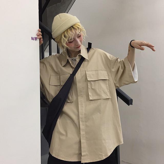 0615 M-XL 韓國ins 棉工裝多口袋短袖襯衫(2色)