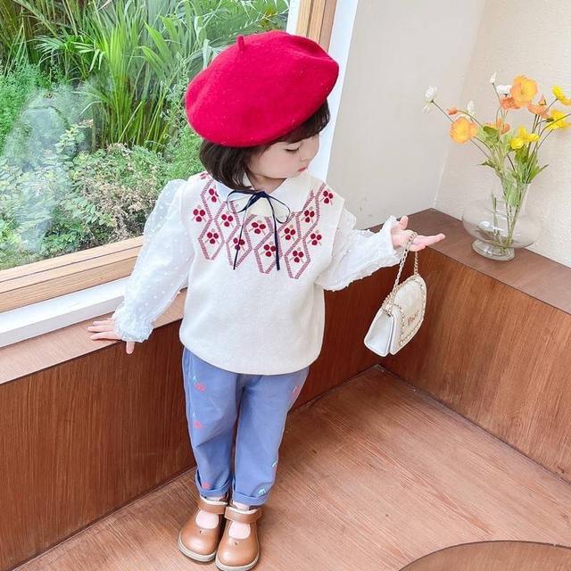 WKD05-8 花袖衫+小櫻桃褲套裝3件組