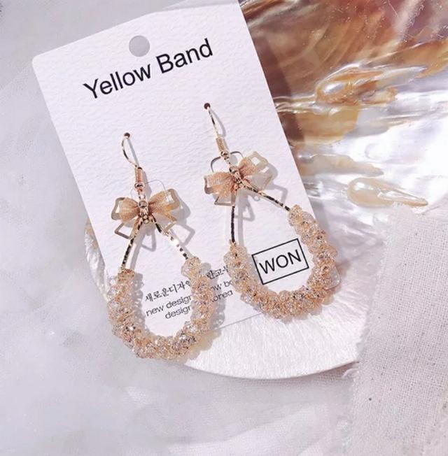 韓國水晶吊墜耳環