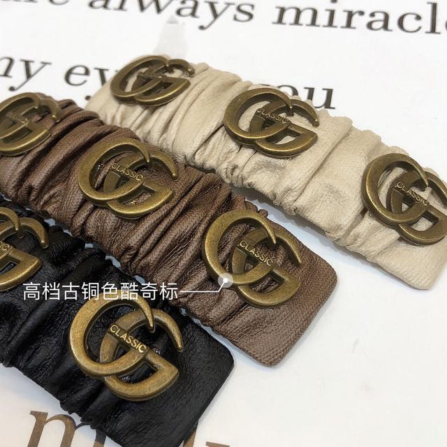 韓國ins復古法式皮質酷奇掰掰夾氣質高檔皮料最新褶皺一字夾發夾