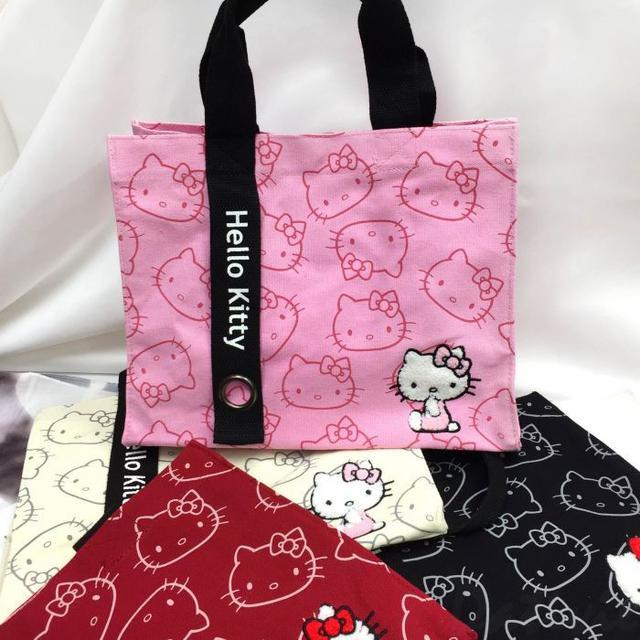 立體刺繡方形提袋-凱蒂貓 HELLO KITTY 三麗鷗 Sanrio 正版授權