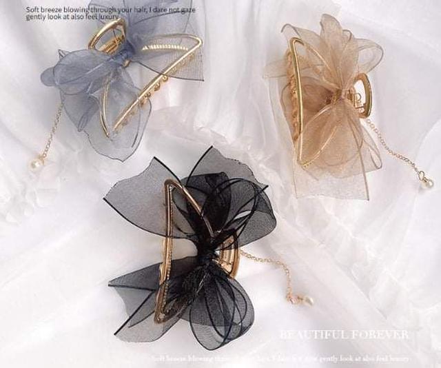 (預購S) H206 - 韓國超仙網紗蝴蝶結珍珠吊墜金屬鯊魚夾(一組2入)