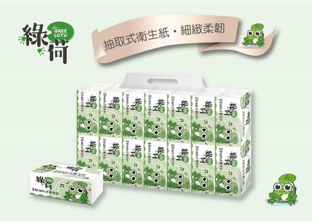 綠荷柔韌抽取式花紋衛生紙 100 抽 * 112 包 / 箱(免運)