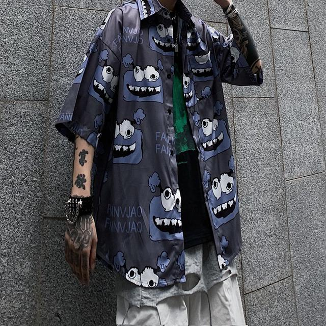 0615 M-XL 男女款 原宿暗黑系高街卡通短袖襯衫(2色)