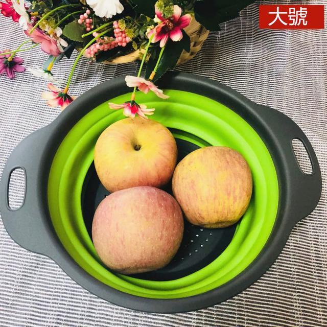 2件套 圓形折疊瀝水籃 圓形矽膠濾水籃 便攜折疊瀝水籃 水果