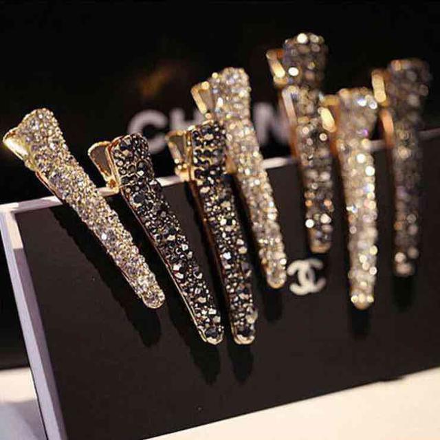 限量韓國東大門時尚鑲鑽珍珠鴨嘴夾(一組四色)