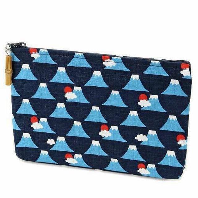日本製 100%純棉 富士山印花紋收納包 共2色 2入/組