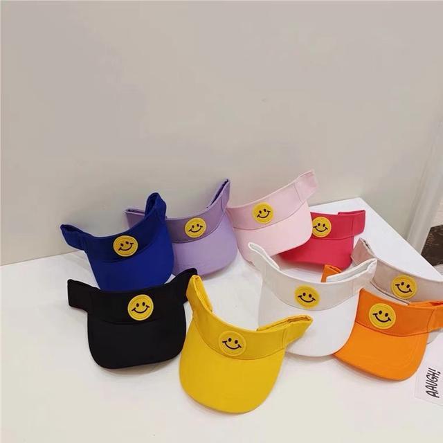 韓版糖果色微笑遮陽帽