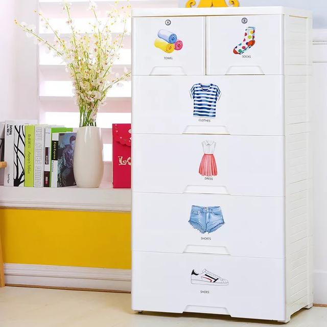 加厚抽屉式收纳柜 多層宝宝衣物分類櫃 塑料婴儿童用品储物柜子
