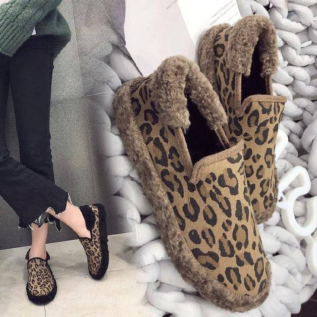 冬季新款时尚豹纹厚底加绒保暖鞋