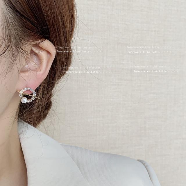 設計感法式銀針鋯石銀針圓圈耳釘女日韓珍珠圓形幾何耳環耳飾