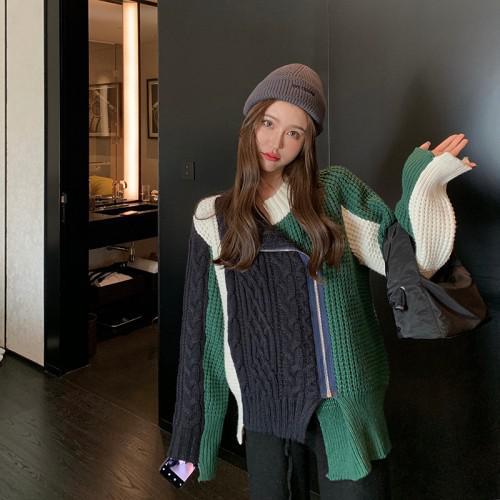 A 12/4 慵懶風寬鬆加厚針織毛衣(2色)
