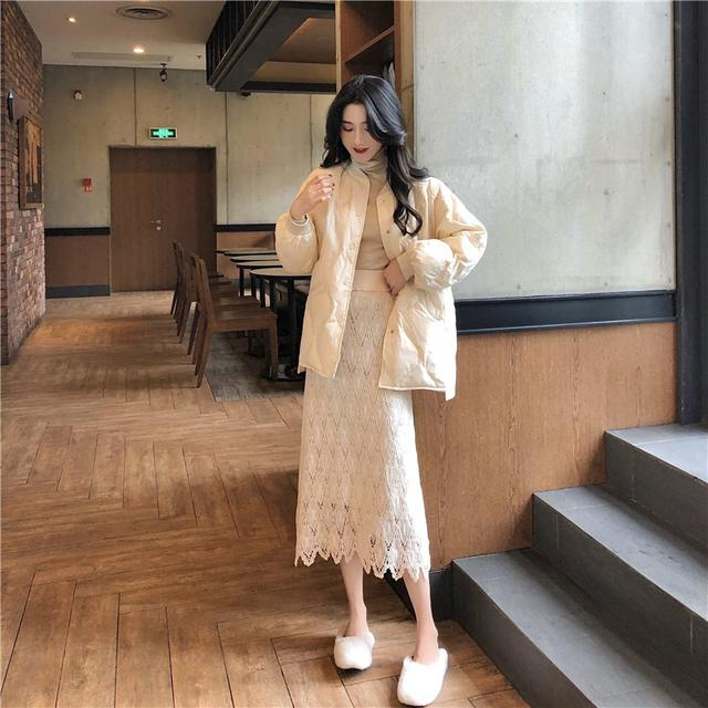 A 12/4 棉衣外套+鏤空蕾絲裙 套裝(2色)